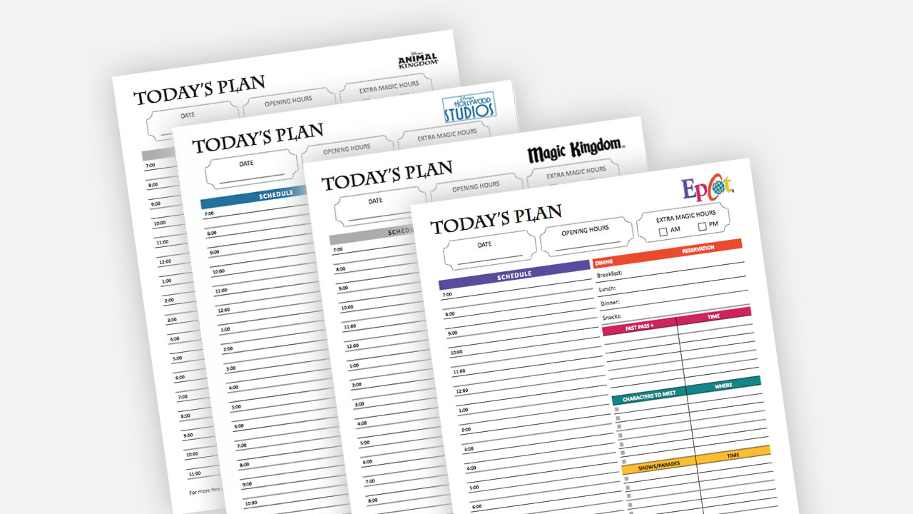 picture relating to Printable Planners named Free of charge Printable Disney World wide Trip Working day Planners - Orlando